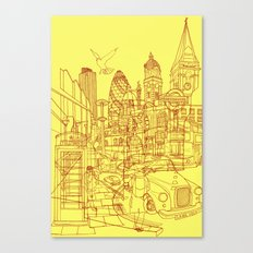 London! Yellow/Red Canvas Print