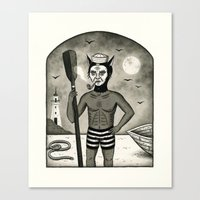 Feline Sailor With Pipe Canvas Print