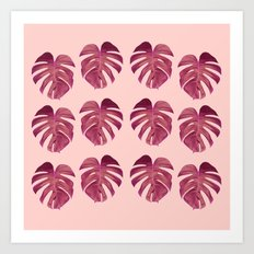 Monstera Leaf Pattern Art Print