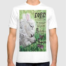 The Lord Restores Psalm 23 White SMALL Mens Fitted Tee