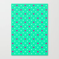 Polka Hearts Canvas Print