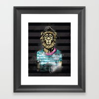 Hipster Lion On Black Framed Art Print