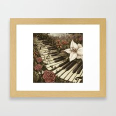 Piano and Flowers Framed Art Print