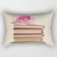 Old Books and Pink Rose Rectangular Pillow