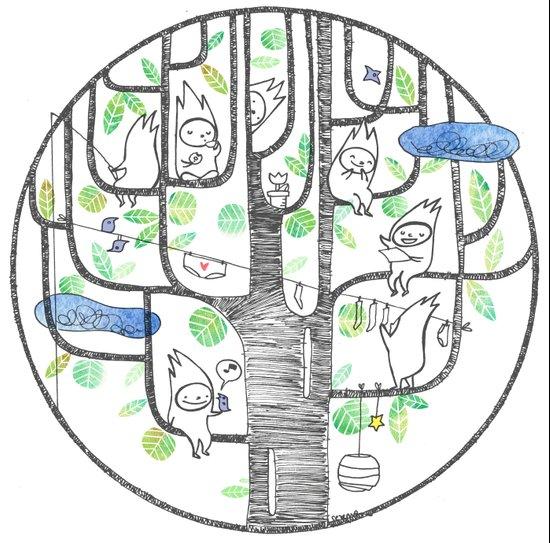 happy tree (black and green) Canvas Print