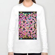 Pink, Blue, & Gold Faux Sparkly Paint Splatter Long Sleeve T-shirt