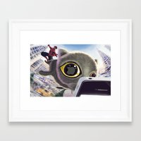 Falling Cat & Hero Framed Art Print