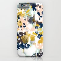 california iPhone & iPod Cases featuring Sloane - Abstract painting in modern fresh colors navy, mint, blush, cream, white, and gold by CharlotteWinter