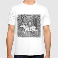 Fox Riding Moose Mens Fitted Tee White SMALL