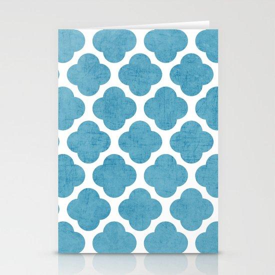 blue folk clover Stationery Card