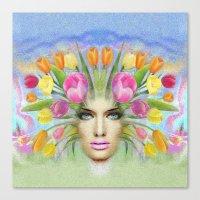 Woman Flowers Colors Canvas Print
