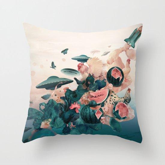 Watermelon&Black cock Throw Pillow