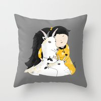 Capricia With Goats Throw Pillow