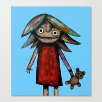 Girl Vith Teddy Bear Canvas Print