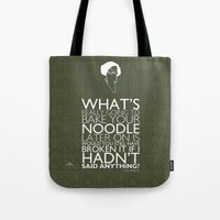 """Tote Bag featuring """"Bake Your Noodle Print"""" Based off of The Matrix by Tom Ryan's Studio"""