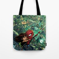 Tote Bag featuring Lil' Spidey by Sheep-n-Wolves Clothing