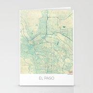 El Paso Map Blue Vintage Stationery Cards