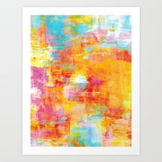 OFF THE GRID Colorful Pastel Neon Abstract Watercolor Acrylic Textural Art Painting Nature Rainbow  Art Print