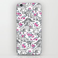 Dinosaurs and Roses - white iPhone & iPod Skin