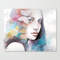 Lady with a butterfly Canvas Print