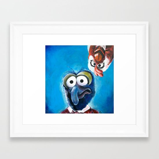 """Gonzo and Camilla Muppet Painting """"Still a Better Love Story"""" Framed Art Print"""