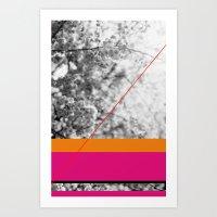 pink and orange Art Print