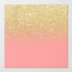 Modern Gold Ombre Pink C… Canvas Print