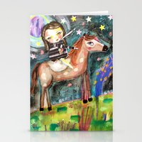 Riding a horse Stationery Cards