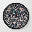 Navy Garden - floral doodle pattern in cream, dark red & blue Wall Clock