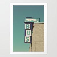 Greyhound Bus Sign Art Print