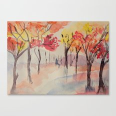 Autumn Trees Watercolour Canvas Print