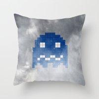 Pac-Man Blue Ghost Throw Pillow