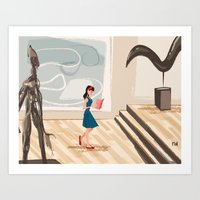 Art Print featuring Pretty Girl at the Art Museum by David Finley
