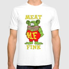 Meat Fink Mens Fitted Tee White SMALL