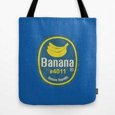 Banana Sticker On Blue Tote Bag
