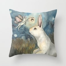 Night Bunny Fairy Throw Pillow