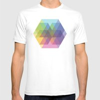 Fig. 040 Hexagon Shapes Mens Fitted Tee White SMALL