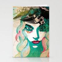 Floral Girl Illustration Stationery Cards