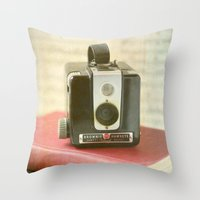 Vintage Brownie Camera Throw Pillow