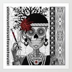 Mrs Gloria Vanderbone - Flapper Girl Sugar Skull Art Print