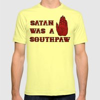 Satan Was A Southpaw Mens Fitted Tee Lemon SMALL