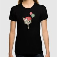 Christmas Fox Womens Fitted Tee Black SMALL