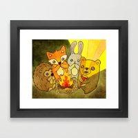 Woodland Campfire Storie… Framed Art Print