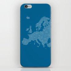 Europe map - blue iPhone & iPod Skin