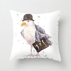 Seagull, seagull watercolor, office humor, funny animals, birds in hats Throw Pillow
