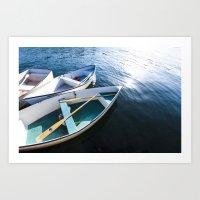 Winter Harbor Dory - Mai… Art Print