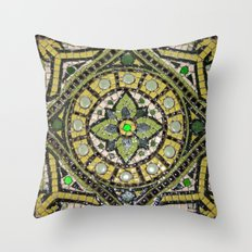 Green Mandala Throw Pillow