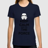 Keep Calm and use the Force Womens Fitted Tee Navy SMALL