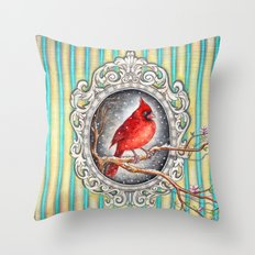RED CARDINAL in FRAME Throw Pillow