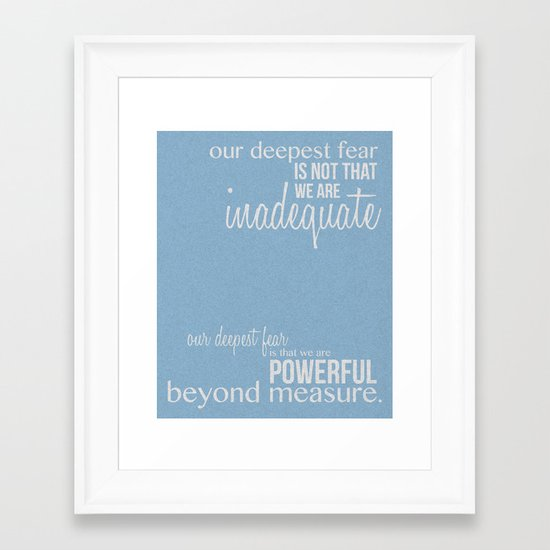 Coach Carter Quotes | Our Deepest Fear Coach Carter Quote Poster Framed Art 2 Quotes